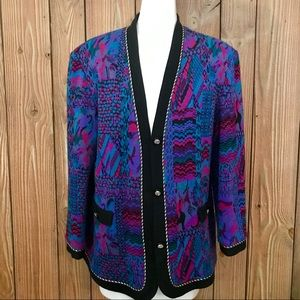 Vintage 80's Coogi Style Pastel Abstract Cardigan